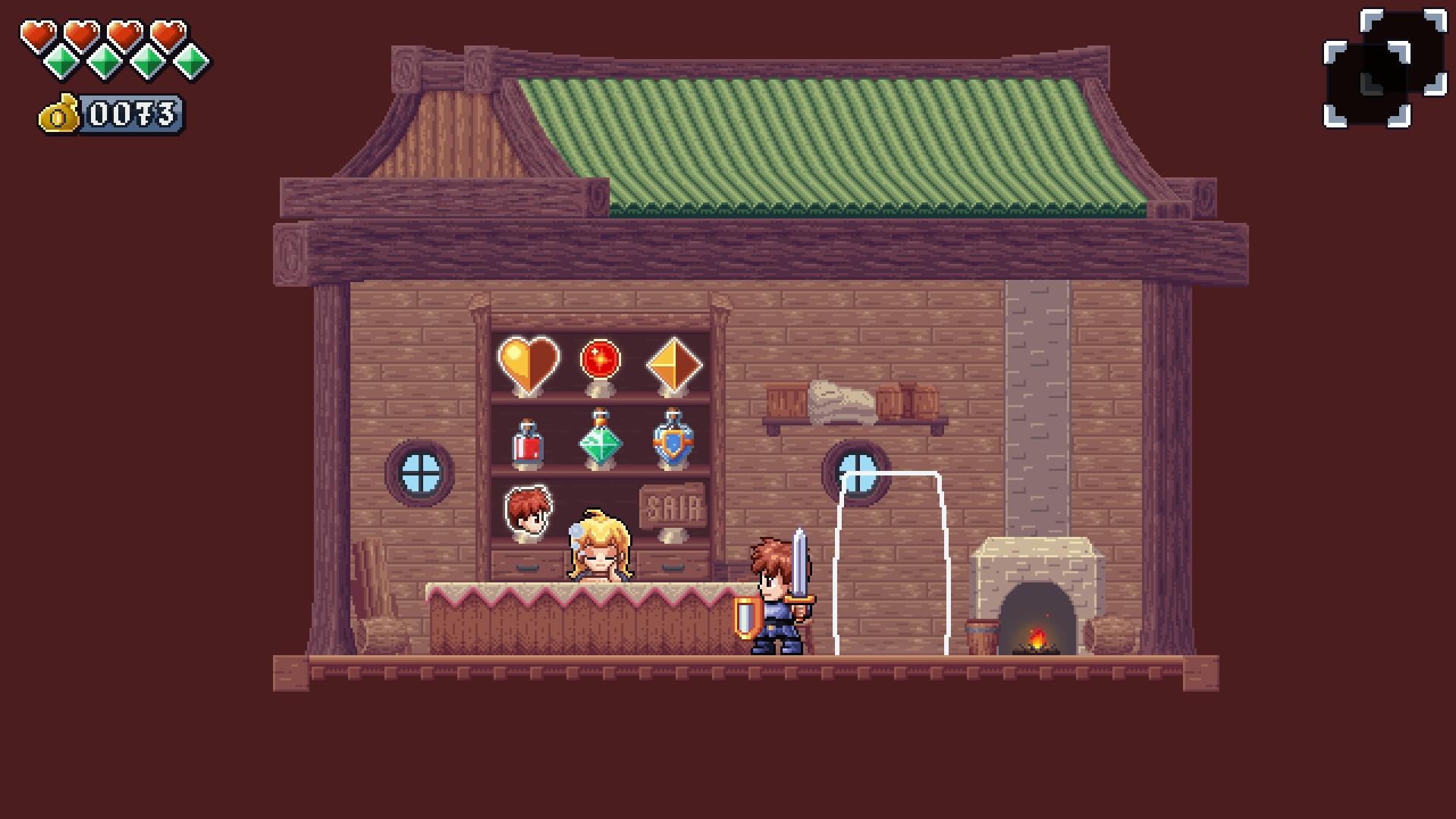 O Herói também pode comprar itens e habilidades na loja