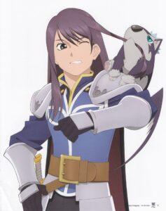 Yuri enquanto fazia parte das tropas e em seu ombro Repede. ( Tales of Vesperia: The First Strike,2009)